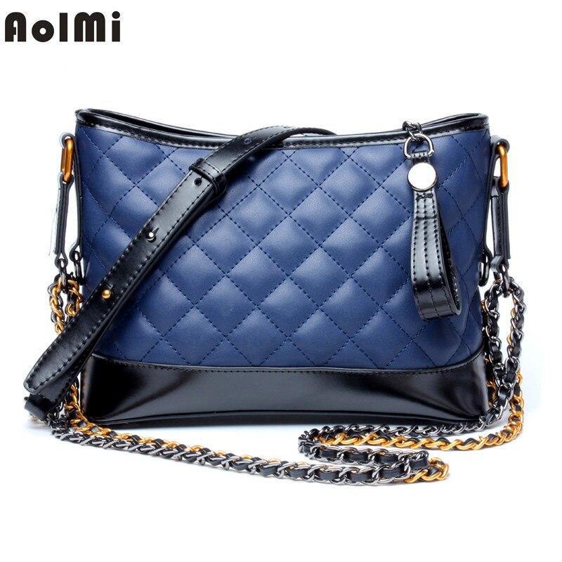 c41cf562d129 AolMi Hobo del cuero genuino del bolso de Crossbody marca de Lujo Señora  bolsos para las mujeres moda cadena del enrejado de diamante
