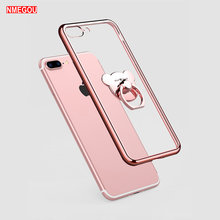 Luxe Plating Zachte Tpu Telefoon Case Voor Iphone X Xr Xs 11 Pro Max 7 8 6 6S Plus 10 5 Se Clear Silicon Cover Met Beer Ring Houder(China)