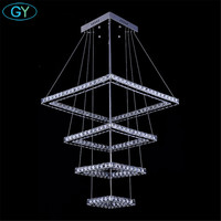 Modern Crystal LED Ceiling Pendant Lamp Stainless Steel Fixture Light For Home 138W Big Square 4