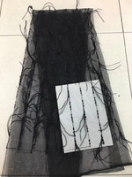 Unique Black handwork Beaded 3D Tassels Flower African French Lace Fabric Embroidery African Tulle Lace Fabric For Nice Dress