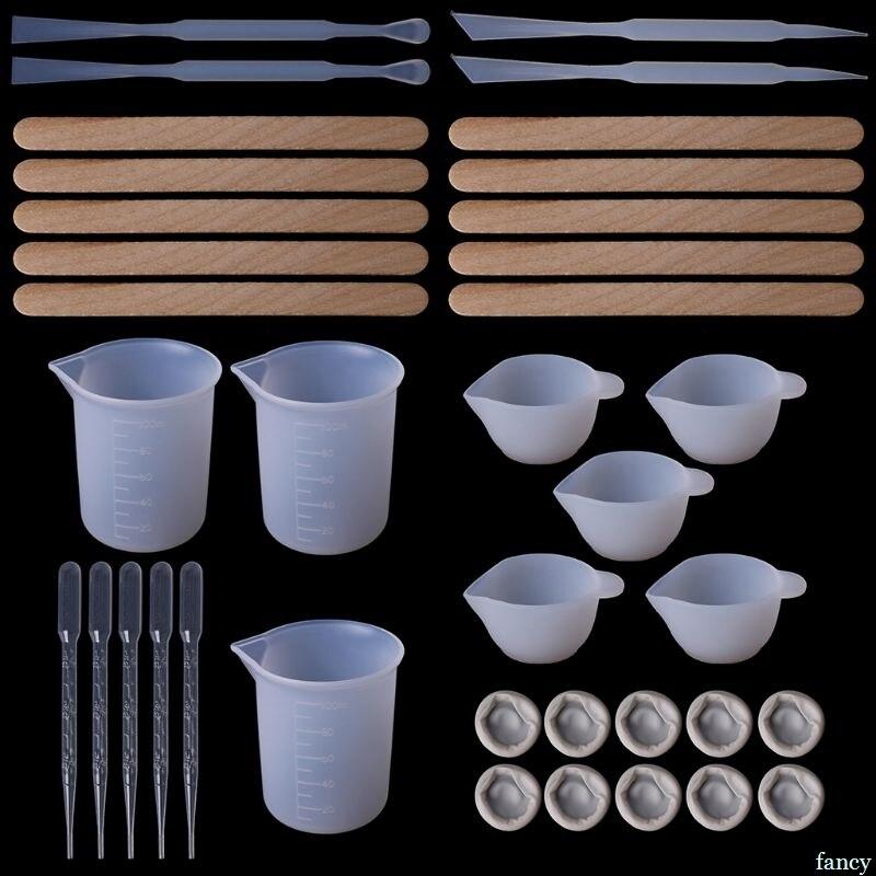 1 Set Diy Epoxy Harz Werkzeuge Messen Tassen Silikon Tasse Mix Stick Holz Sticks Dropper Einstellung Teller Schmuck, Der Hand