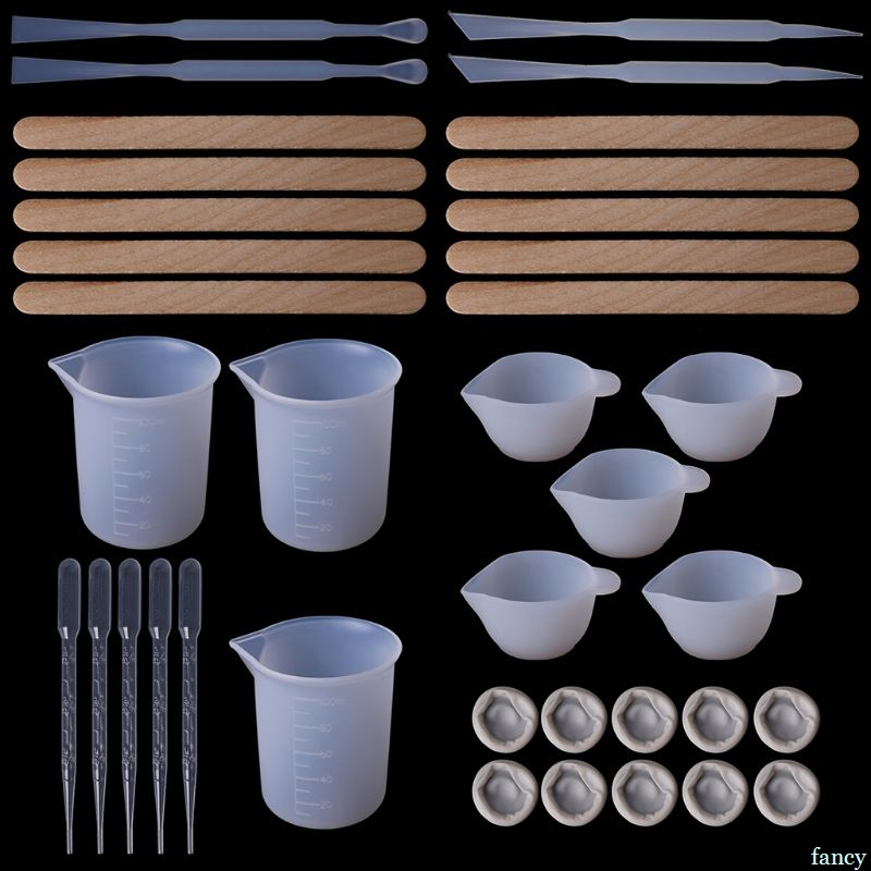 1 Set DIY Epoxy Resin Tools Measure Cups Silicone Cup Mix Stick Wooden Sticks Dropper Adjustment Adjuster Jewelry Making Hand