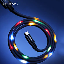 Volume Control Dance LED Light Flash Cable for iPhone 6 7 X,USAMS SR Data Sync 2A Fast Charging USB Cable for Lighting cable led(China)