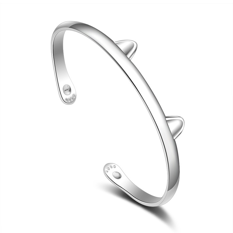 100 925 sterling silver fashion lovely cat ears ladies bangles jewelry no fade cheap female bangle wholesale drop shipping in Bangles from Jewelry Accessories