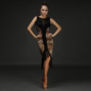 Image 5 - New 4 Colors Tassel Sexy Latin Dance Dress Women Printing Latin Costume Performance Dress Salsa Samba Ballroom Competition Dress