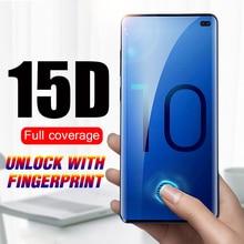 15D полное покрытие закаленное стекло для Samsung Galaxy S21 S20 S10 S10E Note 10 Plus Lite 20 Ультра защита для экрана разблокировка отпечатков пальцев