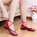 Старый Пекин ткани обувь лето национальный женщины вышитые туфли увеличилась танцевальная обувь красный Серый Китайский холст обувь одного