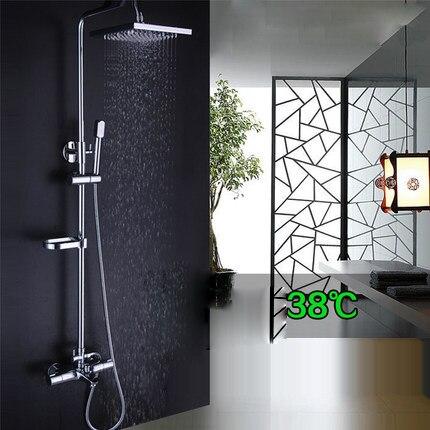 Salle de bains Douche En Laiton Chromé Mur Monté Robinet De Douche Tête De Douche D'économie D'eau Buse Aérateur thermostatique colonne de douche