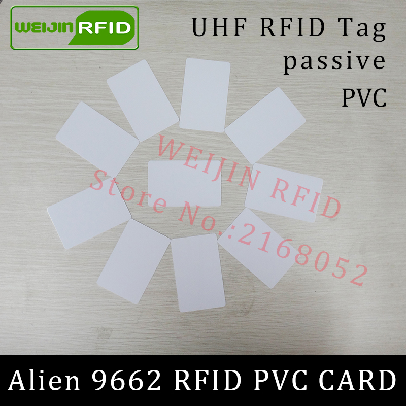 RFID tag UHF PVC card Alien 9662 EPC6C 915mhz 868mhz 860-960MHZ Higgs3 85.7*54*0.8mm long distance smart card passive RFID tags 860 960mhz long range passive rfid uhf rfid tag for logistic management
