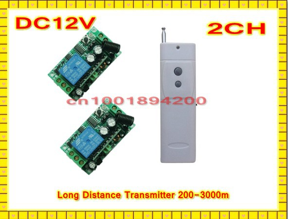 3000m Light Lamp DC12V Remote Control Switch Long Distance Transmitter + Learning Code Receiver Momentary Toggle Latched 315/433 3v 3 7v 5v rf remote control switch mini receiver mini 7 transmitter learning code momentary toggle latched adjustable