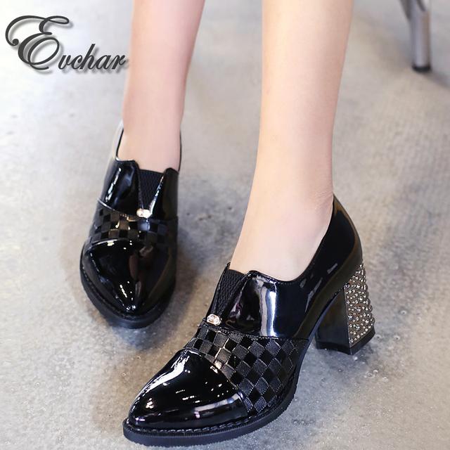 Bombas de las mujeres Nueva Primavera otoño Zapatos de goma Del Talón Grueso Zapatos de la oficina Negro Azul Zapatos rojos de Tacón Alto tamaño grande 31-48