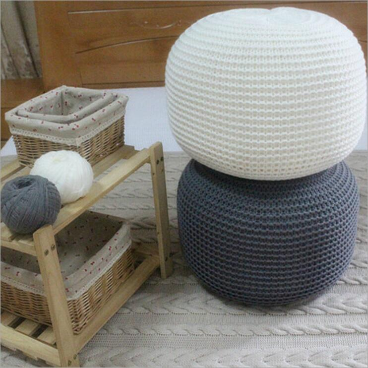 White Ahloyalty Knitted Woolen Round Cushion Pouf