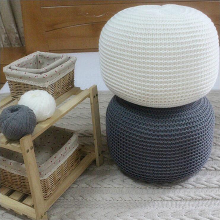POUF rond en laine tricoté de Style nouveau