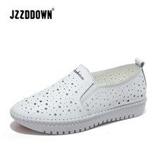 Women casual sneakers shoes Genuine Leather Hollow Handmade ladies flats canvas Boat shoe female loafers shoes Wedding footwear