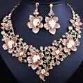 FARLENA JÓIAS Elegante 3d Flor Colar Brincos set para As Mulheres Brilhantes Strass Cristal Dubai Conjuntos De Jóias de Noiva