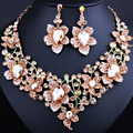 FARLENA JEWELRY Elegant 3d Flower Necklace Earrings set for Women Shining Crystal Rhinestone Dubai Bridal Jewelry Sets