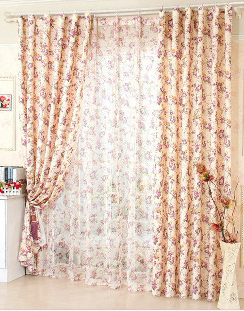 Perfect Window Curtain For Living Room Floral Curtain / Kitchen Curtains Butterfly  Red Purple Roses