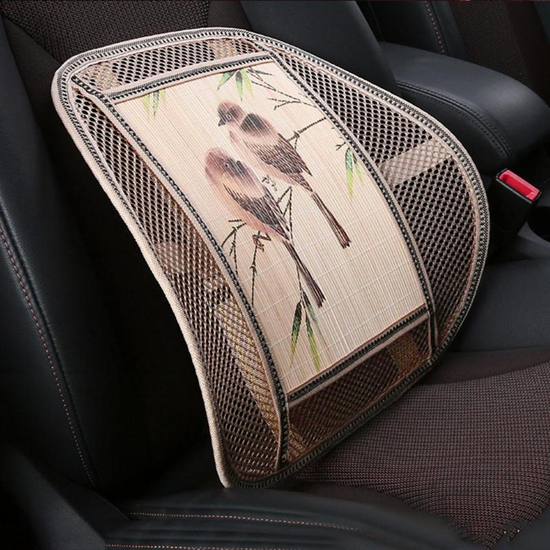 1Pcs Universal Car Cool Seat Covers Mesh Cloth Bamboo Lumbar Waist Cushion Support Pillow Back For Man Women Traveling