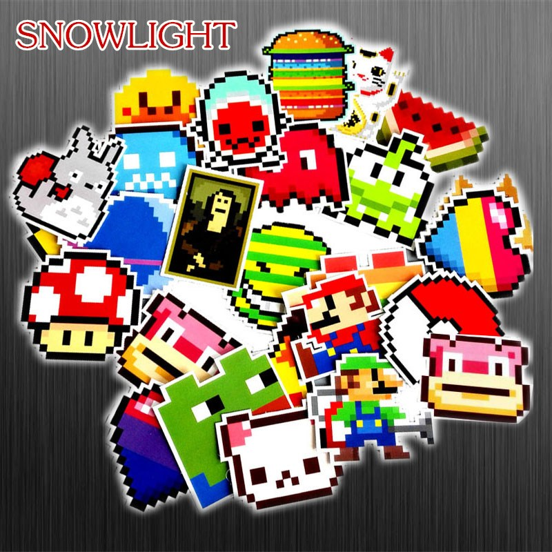 25Pcs/lot Cartoon Pixel Style Sticker JDM Sticker For Laptop Guitar Motocycle Luggage Skateboard Doodle Decor Toy Sticker