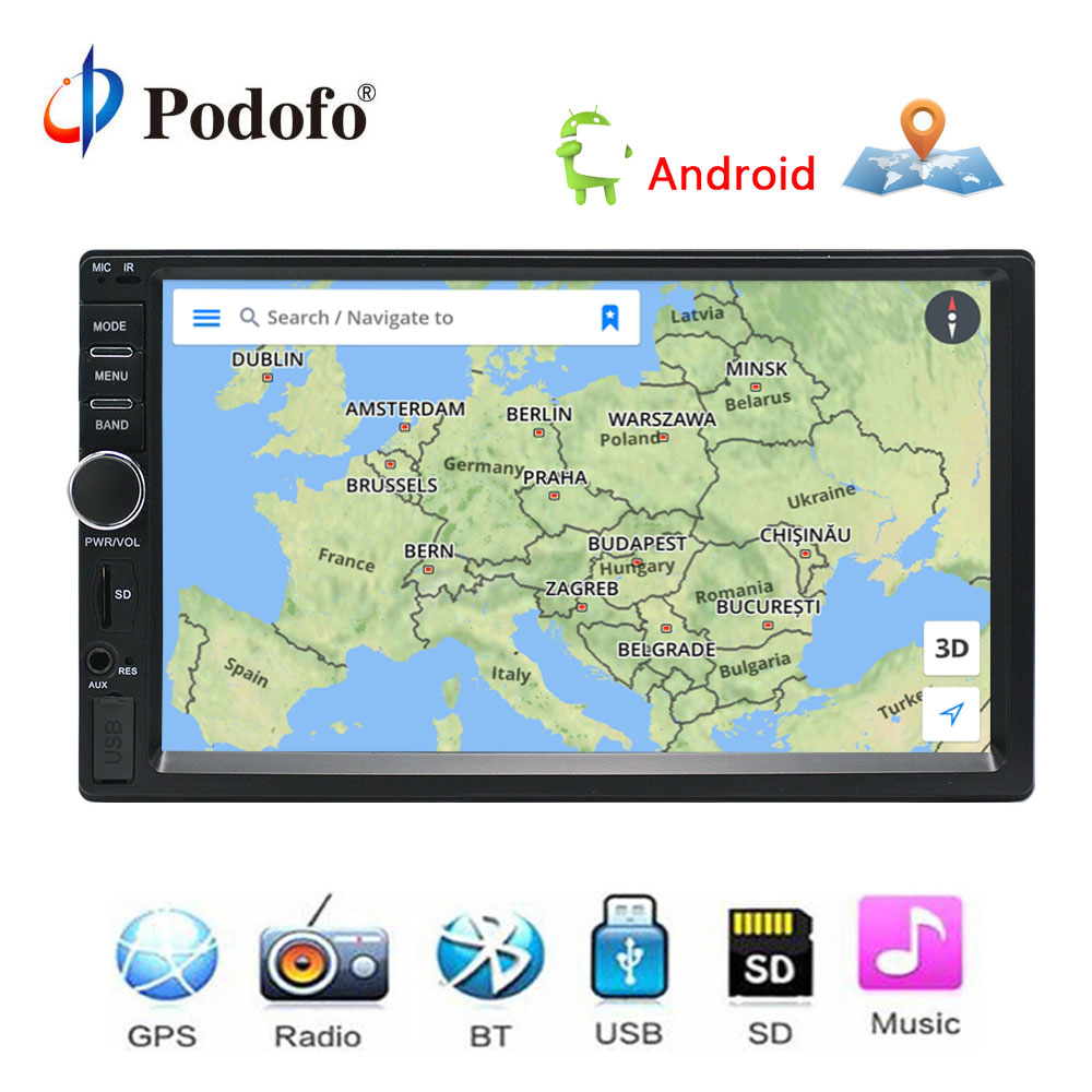 Podofo Авто Радио 2 Din Android gps навигации Автомагнитола аудио стерео 7 1024*600 Универсальный мультимедийный плеер wi-Fi Bluetooth USB