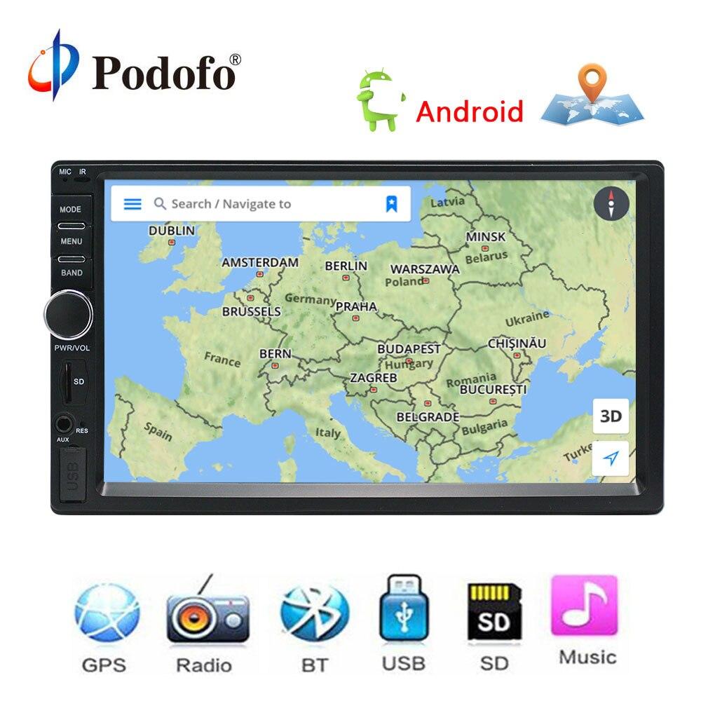 Podofo Авто Радио 2 Din Android gps навигация автомобильное радио аудио стерео 7 600*1024 Универсальный мультимедийный плеер wifi bluetooth usb