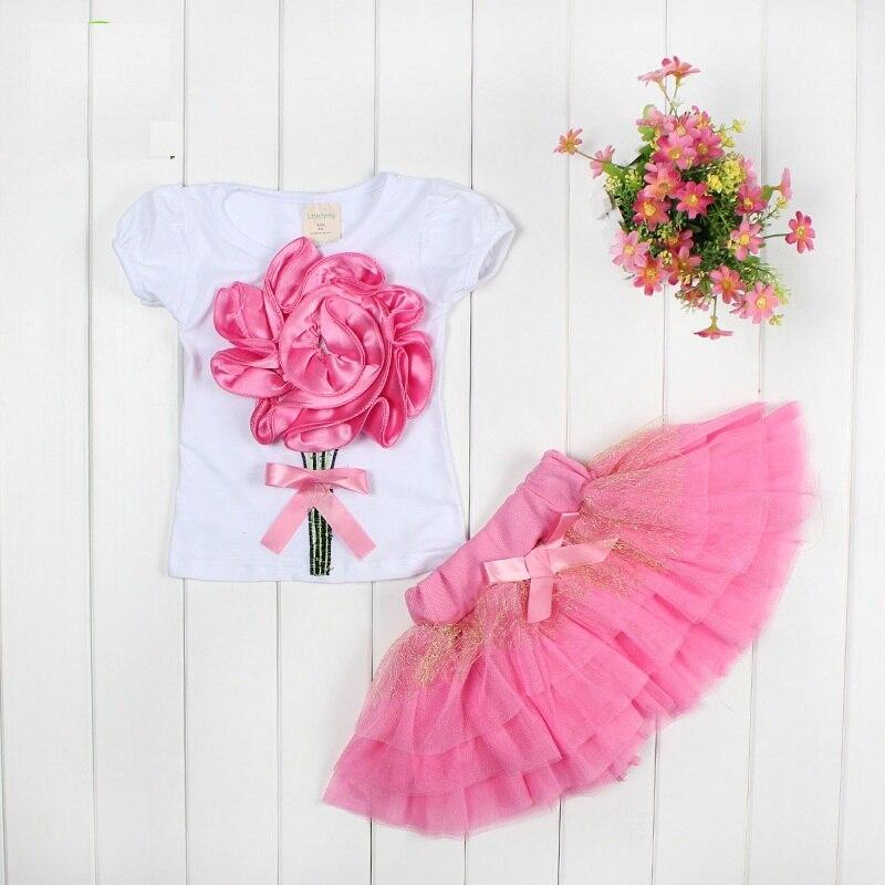2017 Summer Baby Girls Clothing Set Flower Tops And Tutu Skirts 2Pcs Set Newborn Baby Girl Clothes Set Infant Girls Sport Suit
