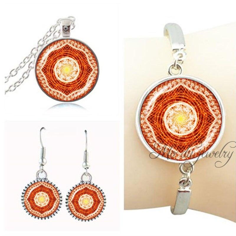 Spiral flower jewelry set mandala flower necklace earring set glass cabochon om bracelet women jewelry set silver plated pendant