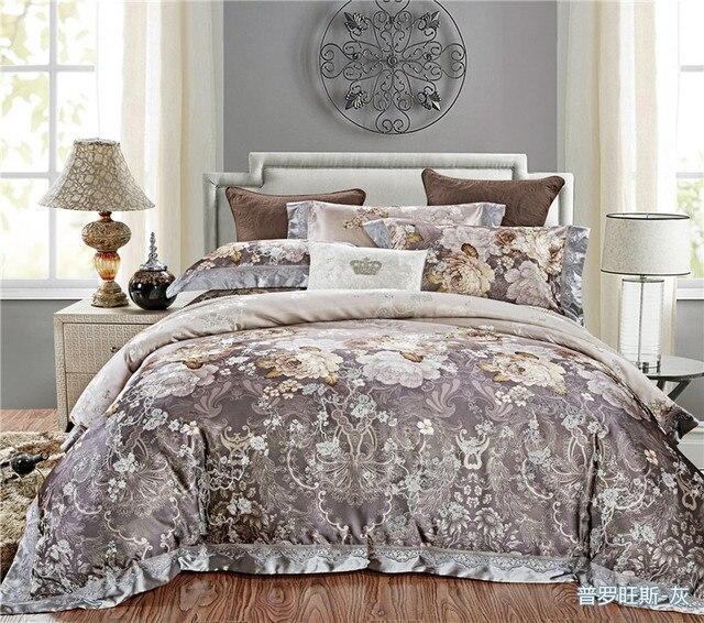 4 pieces grey jacquard silk cotton luxury bedding set king size queen bed set lace duvet