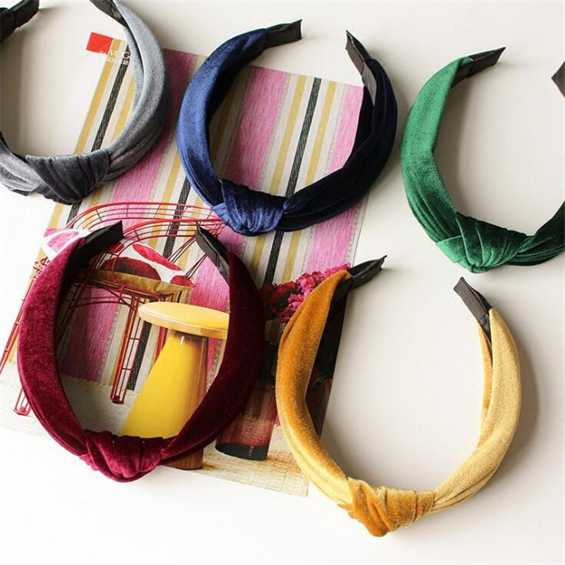 Women 2019 Bezel Fashion Solid Color Velvet Hairband Headband For Women Girls Elegant Cross Bow Handmade Hair hoop   Headwear