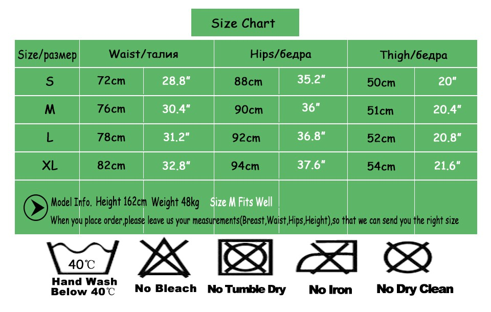 Size Chart For Shorts