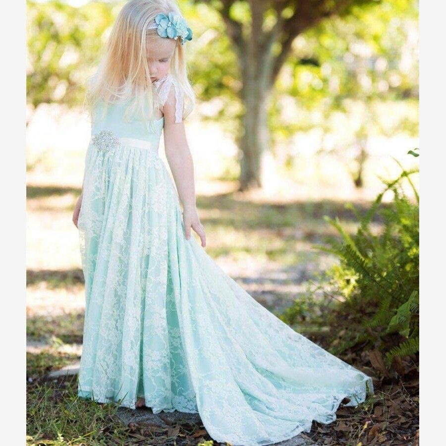 Vintage Powder Blue Flower Girl Dresses for Weddings 2016 U