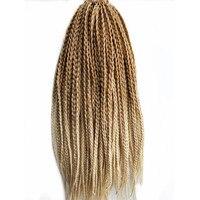 Pervado pelo 18 pulgadas 22 filamentos/paquete African 3 s caja trenzas del pelo rubio ombre color sintético crochet pelo extensiones para las mujeres