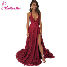 цена на Elegant A Line Lace Evening Dress Spaghetti Straps V-Neck Long Burgundy Evening Gown 2020 Side Slit Robe De Soiree