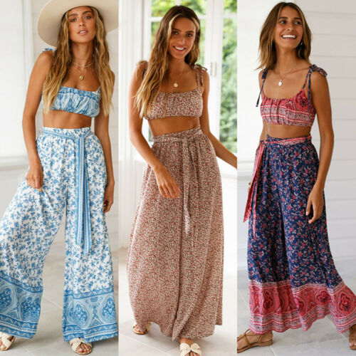 Women's Palazzo Floral   Wide     Leg     Pants   High Waist Loose Culottes Long Trousers AU