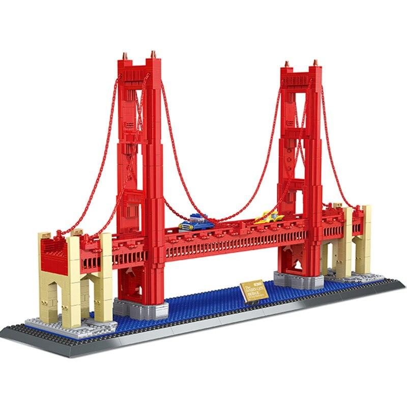 1977Pcs Golden Gate Bridge Model Building Blocks set Bricks 8023