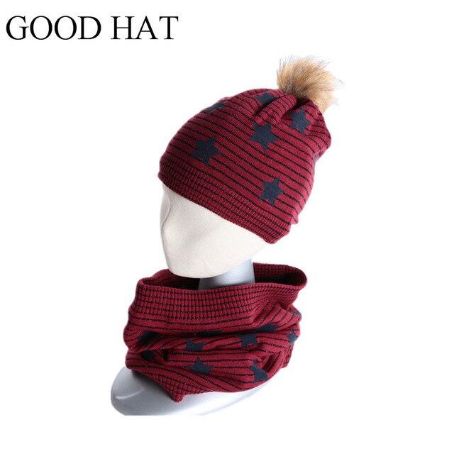Lana de invierno bufanda sombrero para niños pompom sombrero bufanda ...