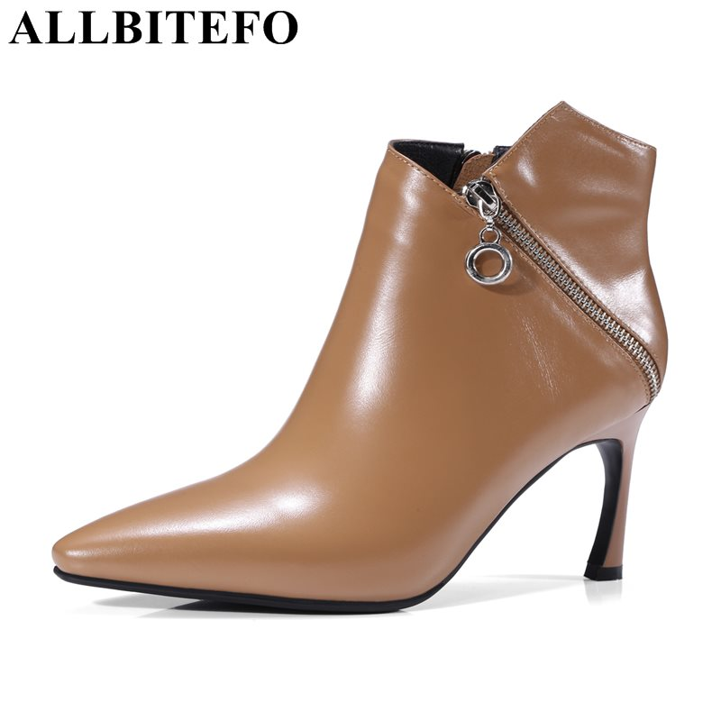 ALLBITEFO fashion sexy gold zipper genuine leather pointed toe women boots high heel shoes high quality martin boots girls boots allbitefo new fashion wedges heels genuine leather pointed toe women boots high quality high heels martin boots girls boots