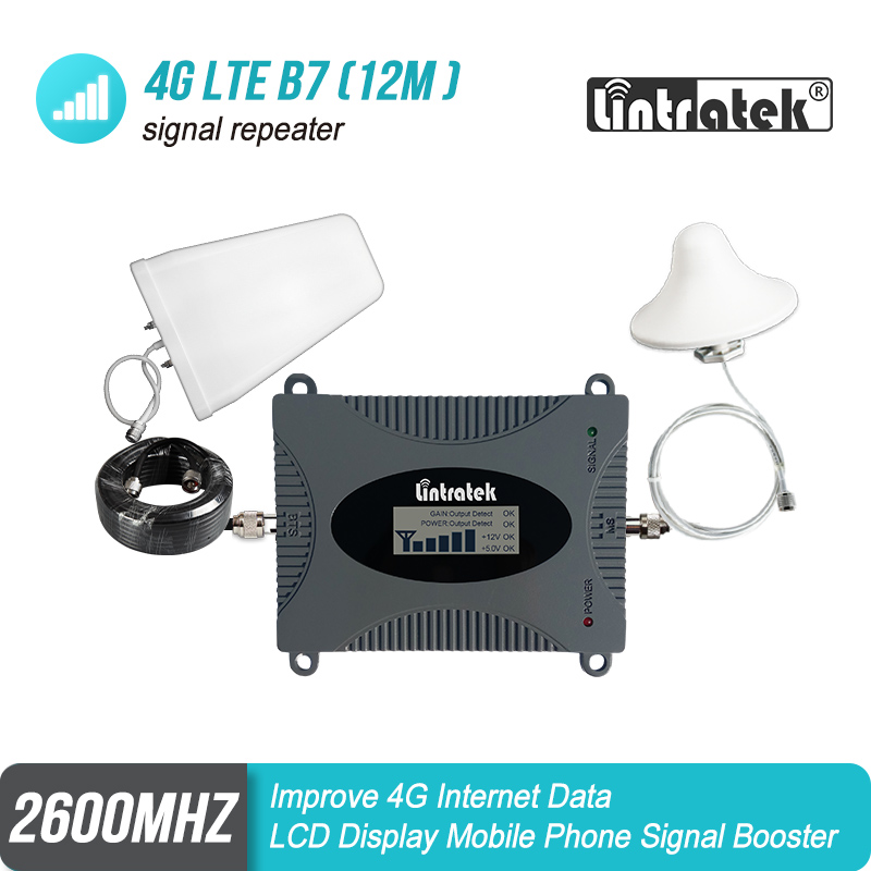 Lintratek LCD Display 4g 2600 Band 7 Cell phone Signal Repeater 65dB Cellular Mobile Signal Booster