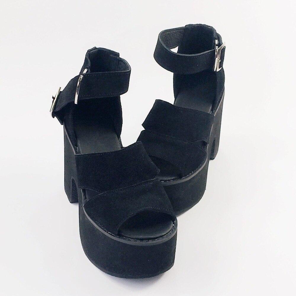 Occasionnels Véritable Sangle Lolita Sandales Ouvert Piscine Boucle Plate Bouche Cuir forme Chaussures Bout Femmes D'été Haute À q5tA11