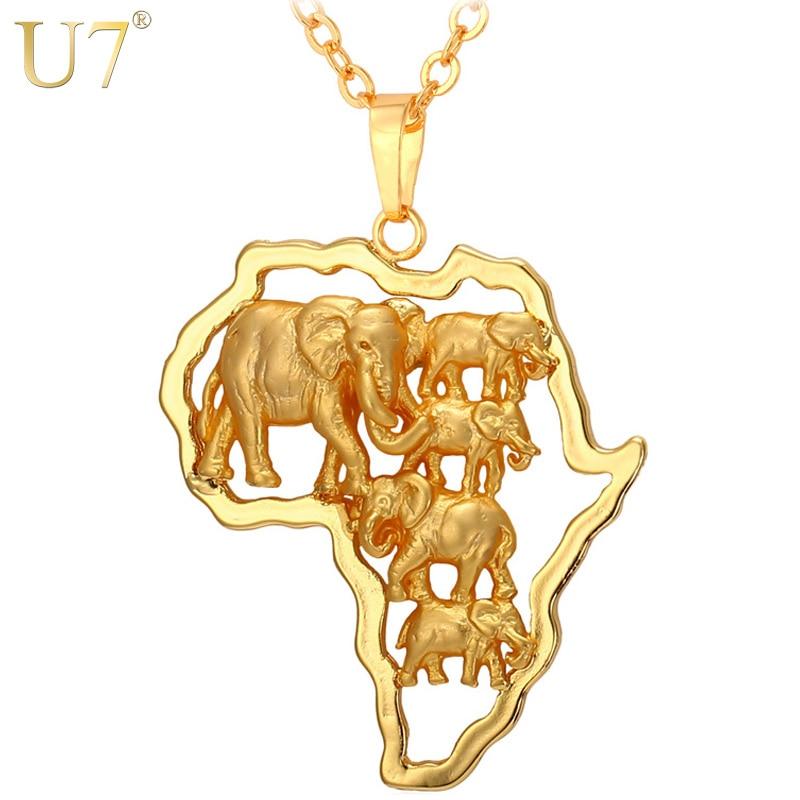338474eaacfa U7 oro color África elefante Collar para hombres mujeres Moda Africana Mapas  colgante y cadena hiphop animal joyería partido p773