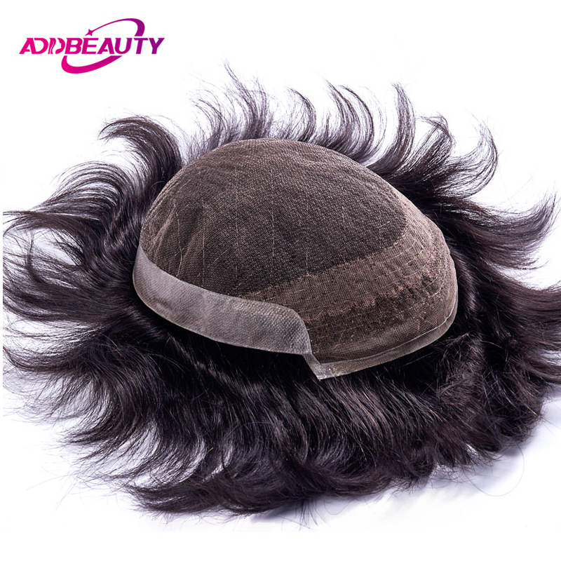 AddBeauty French Lace With PU Mens Toupee Replacement Systems Indian Remy Hair Toupee Men Wig Super Hairpiece Pure Handmade