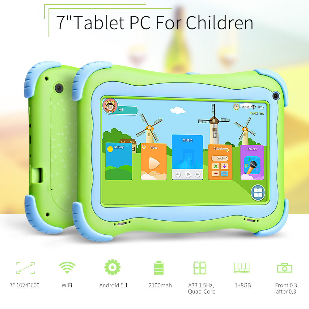 Yuntab 7 inch Q91 Kids tablet PC Allwinner A33 Quad Core Android 4.4 Tablet Dual camera Capacitive touch screen 1024*600