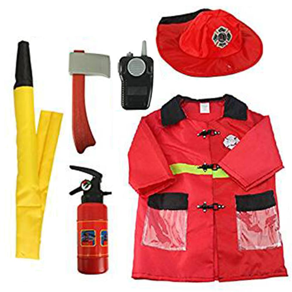 New 6PCS/set Fire Chief Costume Role Play Costume Dress-Up Set Boy Fire Clothes