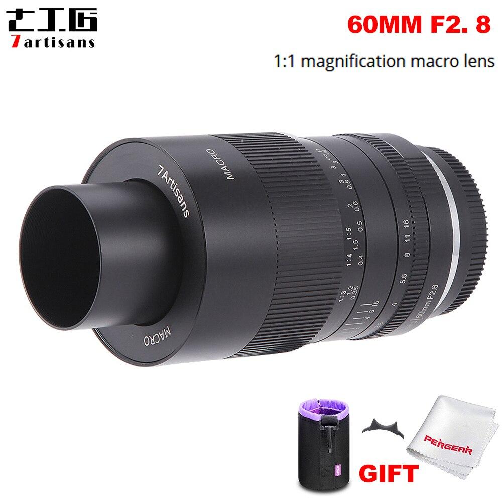 Макрообъектив 7artisans с увеличением 60 мм f2.8 1:1, подходит для беззеркальной камеры Sony E-mount / Fuji / M4/3 A6500 A6400