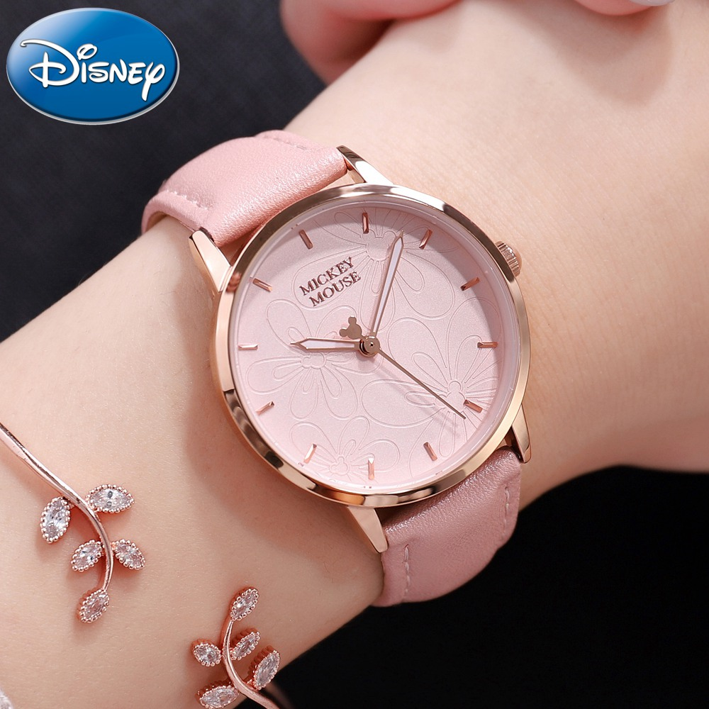 Disney Women Mickey Mouse Flower Design Leather Band Quartz Watches Woman Steel Back Cover Alloy Case Pink Wristwatch Waterproof