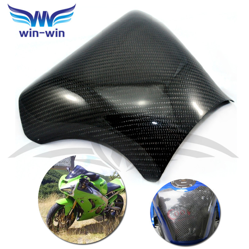 ФОТО new black color motorcycle accessories caron fiber fuel gas tank protector pad shield rear carbon fiber for KAWASAKI ZX 6R 03-06