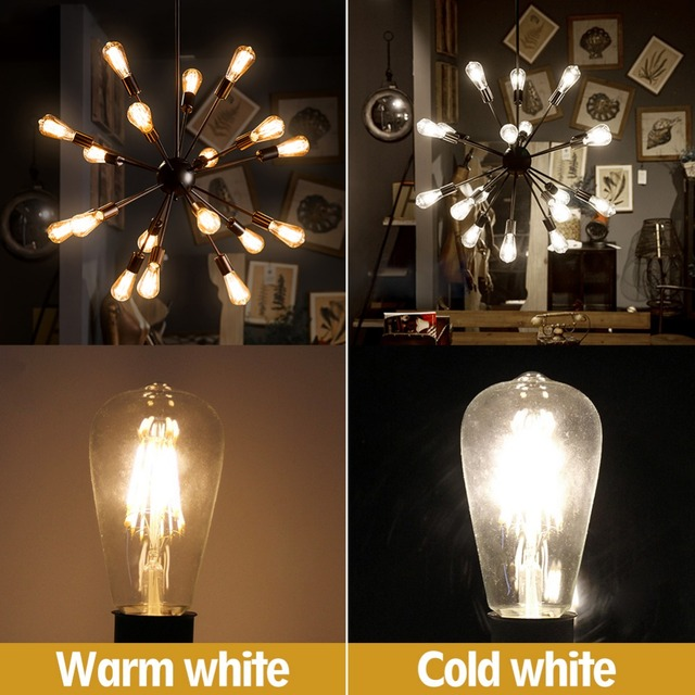 LED Candle Bulb E14 Vintage Filament Light Bulb E27 LED Edison Globe Lamp 220V Glass 2W 4W 6W 8W Replace Incandescent dimmable