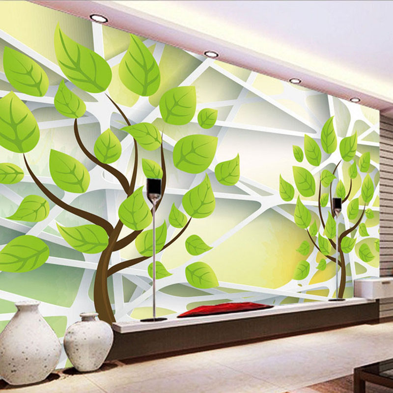 Photo wallpaper 3d stereo relief abstract green tree for Mural 3d simple