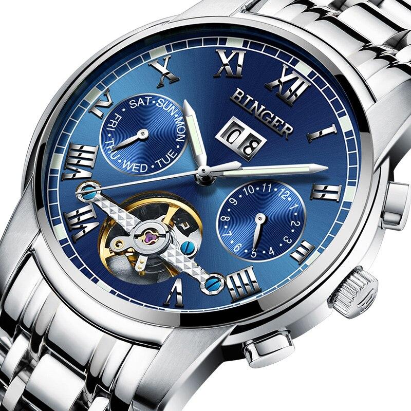 Switzerland BINGER men s watch luxury brand Tourbillon sapphire luminous multiple functions Mechanical Wristwatches B8601 5