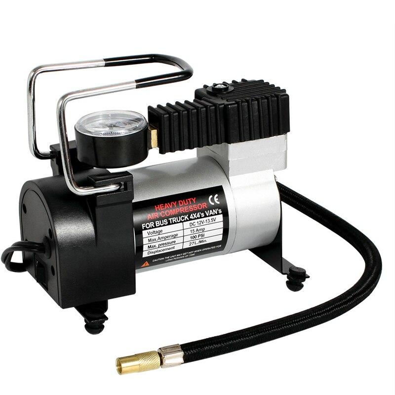 100PSI Super débit Automobile voiture compresseur d'air DC 12 V Auto pneu gonfleur Portable Automobile compresseur électrique manomètre
